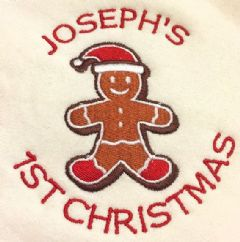 Personalised Babies Bib - Gingerbread Man 1st Christmas